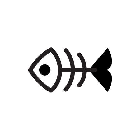 illustration of black fishbone: Fish bone or skeleton vector icon isolated