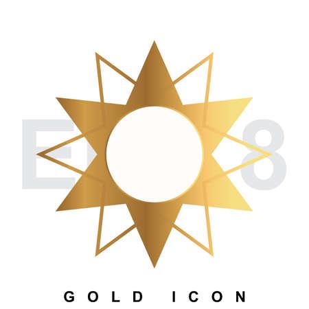 metallic  sun: Golden Sun premium icon graphic web design element   template. Vector royal luxury symbol for business, internet, decoration. Modern abstract glittering metallic emblem
