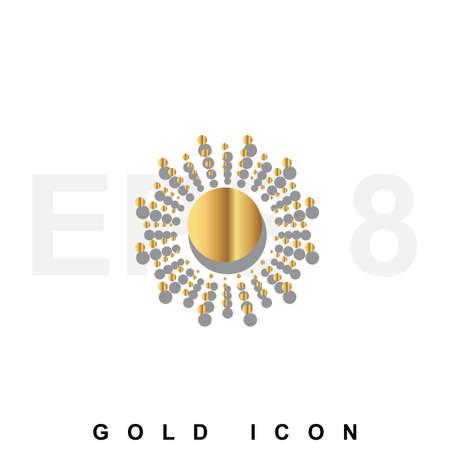 metallic  sun: Golden Sun premium icon graphic web design element or   template. Vector royal luxury symbol for business, internet, decoration. Modern abstract glittering metallic emblem