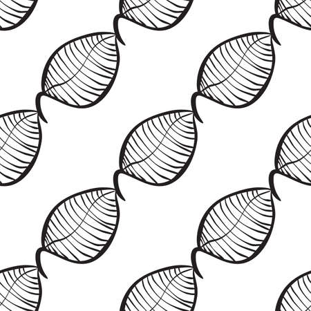 repeat texture: Vector neutral seamless organic pattern of hand-drawn stylized leaves.  Decorative template repeat texture for web, wrapping, Illustration