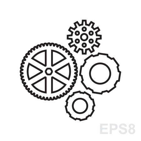 mechanism of progress: Simple gear, cog wheel or settings icon. Machine, technology, equipment, engine, mechanism sign. Idea, development, progress stylized symbol. Part of clockwork isolated. Illustration