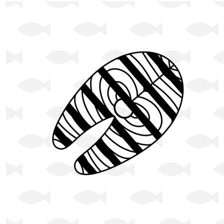 salmon fish: Salmon fish steak or fillet icon isolated. Illustration