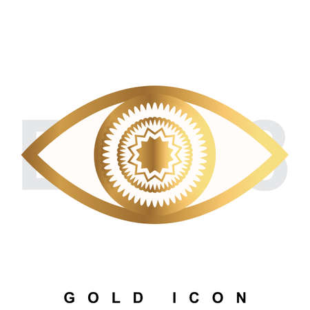 contacting: Golden icon   of an eye. Vision, optometrist, vigilance, optics, tracking a luxury vector symbol or sign