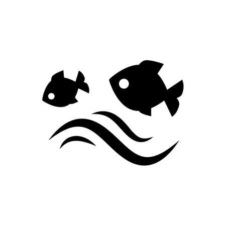 saut de poisson dans l'eau. Vector illustration