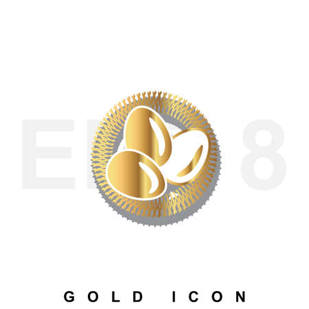 laying egg: Golden premium nest with eggs icon graphic web design element  template. Vector royal luxury symbol for business, internet, decoration. Modern abstract glittering metallic emblem isolated
