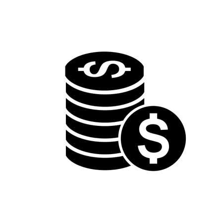 vettore soldi icona del design piatto pittogramma nero isolato su sfondo bianco, simbolo di cassa, banche e segno di affari
