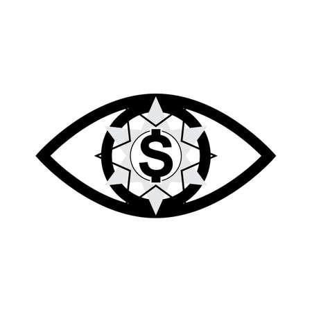 greed: Eye with dollar icon, greed sign, profit or need money symbol isolated Illustration