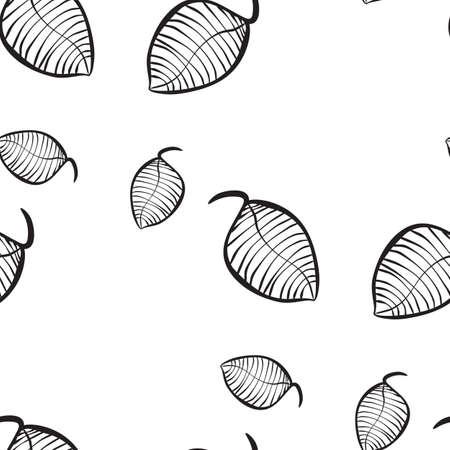 Vector neutro modello organico senza soluzione di continuità di foglie stilizzate disegnate a mano. Modello decorativo di ripetizione di struttura per il web, il confezionamento,