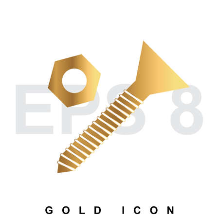Golden Bolt and nut premium icon graphic web design element   template. Vector royal luxury symbol for business, internet, decoration. Modern abstract glittering metallic emblem