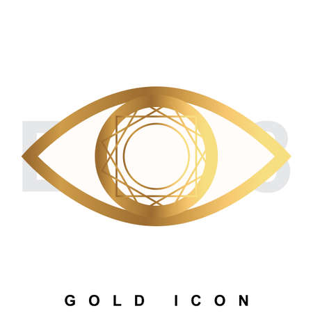 symbol vigilance: Golden icon   of an eye. Vision, optometrist, vigilance, optics, tracking a luxury vector symbol or sign