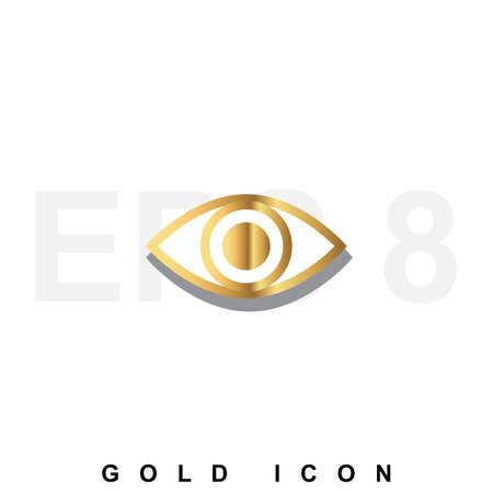 vigilance: Golden icon  of an eye. Vision, optometrist, vigilance, optics, tracking a luxury vector symbol or sign