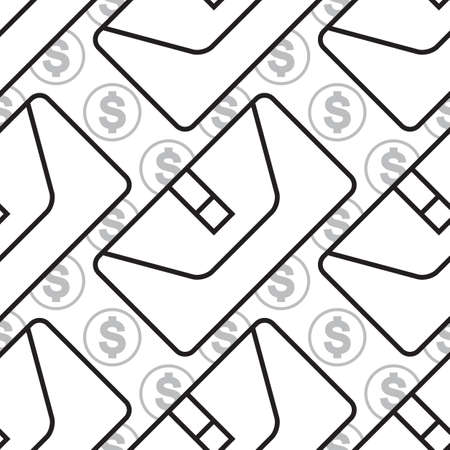 pouch: wallet icon  seamless pattern, pouch vector illustration flat design black pictogram isolated on white background Illustration