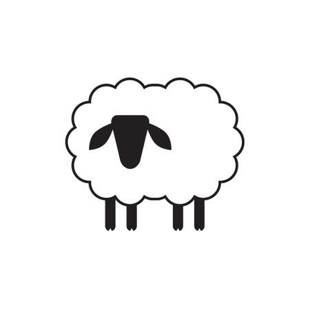 baa: Vector sheep or ram icon,  template, pictogram. Modern emblem for market, internet, design, decoration. Trendy simple lamb or ewe symbol.