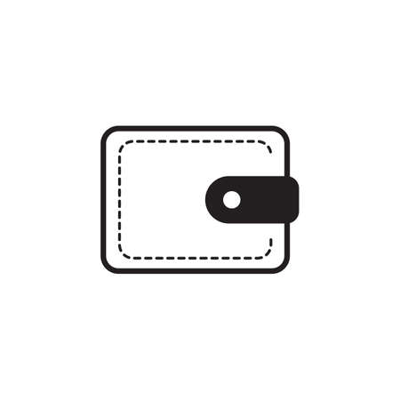 pouch: empty wallet icon, pouch vector illustration flat design black pictogram isolated on white background