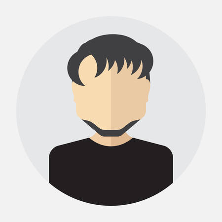 trendy male: Vector male face avatar,   template, pictogram, button. Round trendy flat icon with man for business, internet, design. Illustration