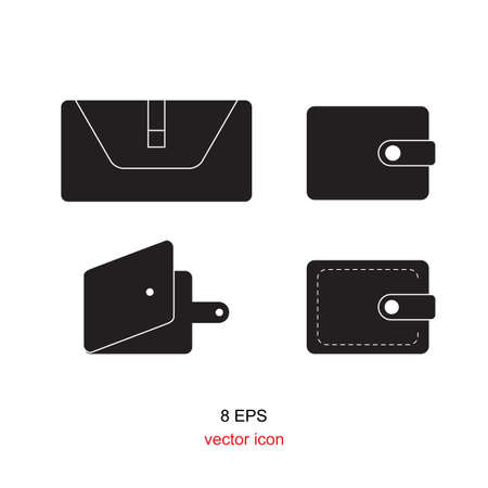 pouch: empty and closed wallet icon set, pouch vector illustration flat design black pictogram collection isolated on white background Illustration