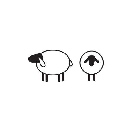 Vektor Illustration Eines Schafes Schäfer Mit Herde Von Schafen