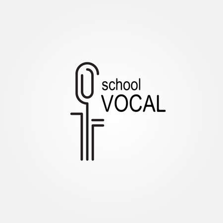 the vocalist: template for vocal or music school. Vector illustration on  white background. Illustration