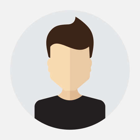 trendy male: Vector male face avatar,  template, pictogram, button. Round trendy flat icon with man for business, internet, design.
