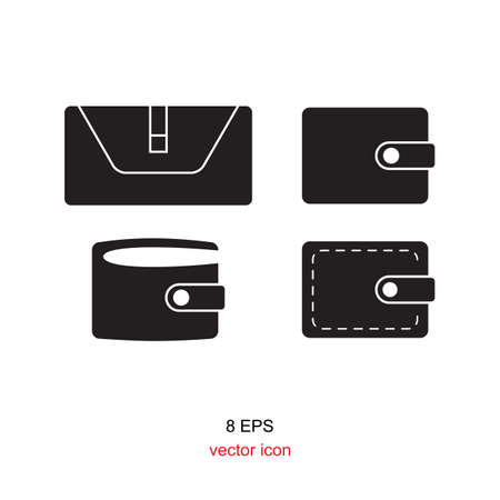 pouch: wallet icon, pouch vector illustration flat design black pictogram isolated on white background Illustration
