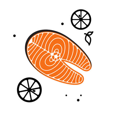food fish: Salmon fish steak or fillet icon isolated. Illustration
