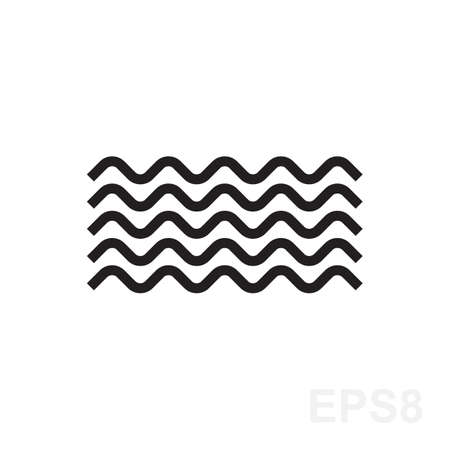 Wave icon vector. Water liquid symbol isolated. Sea, river or oceanic flowing sign. Bending lines.