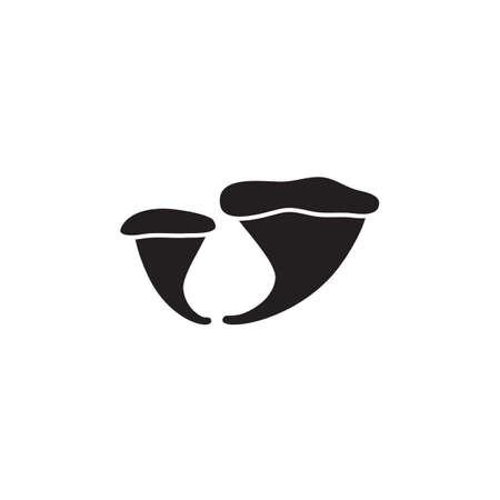 fungus: Vector mushroom icon,   template, pictogram set. Modern emblem for eco shop, market, restaurant, internet, design. Trendy simple style fungus symbol
