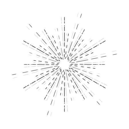 sunbeam: Sun rays linear drawing. Star burst graphic in vintage style. Hand drawn sunbeam isolated. Illustration