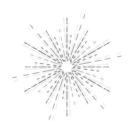 Zonnestralen lineaire tekening. Ster barsten afbeelding in vintage stijl. Hand getrokken zonnestraal geïsoleerd. Vector Illustratie