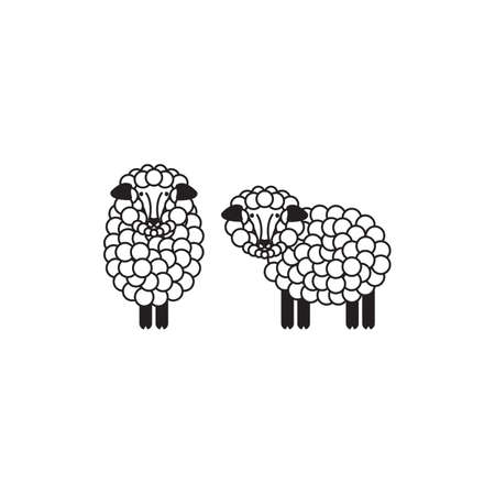 Vector Sheep Or Ram Icon Template, Pictogram. Modern Emblem
