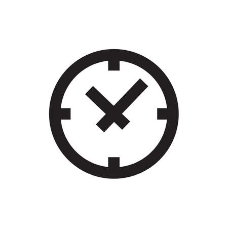 Vector time or clock icon,   template, pictogram. Modern emblem for business, market, shop, internet, design. Trendy simple watch, timepiece or timer, symbol.