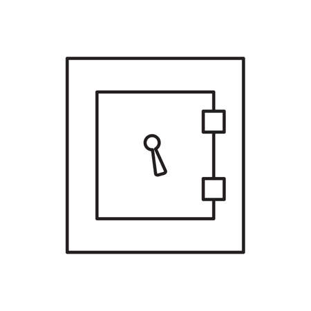 safe deposit box: Simple vector safe icon. Security and protection sign. Banking, money, deposit symbol. Locked steel box pictogram for web, design, business.