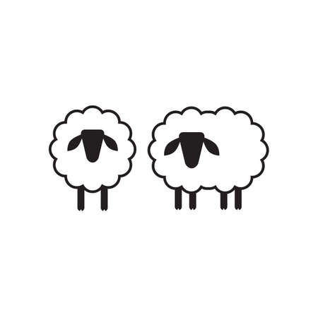Vector sheep or ram icon,   template, pictogram. Modern emblem for market, internet, design, decoration. Trendy simple lamb or ewe symbol.