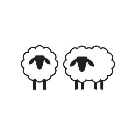 Wektor owiec lub barana ikon, szablon, piktogram. Nowoczesne godło na rynku, internet, projektowanie wnętrz. Trendy proste jagnięciny lub ewe symbolem.