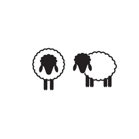 Vector Illustration Of A Sheep. Shepherd With Flock Of Sheep