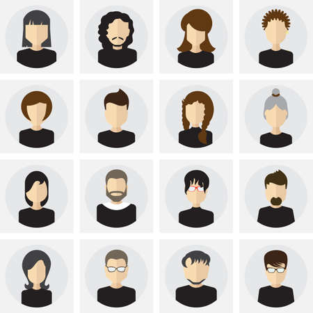 Collection of male and female faces avatars in flat style. Vector icons,  template, pictogram, button set