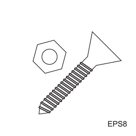 fasteners: Bolt and nut vector simple black icon in thin line style Illustration