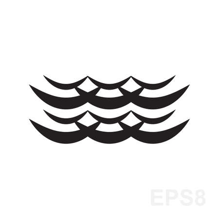 oceanic: Wave icon vector. Water liquid symbol isolated. Sea, river or oceanic flowing sign. Bending lines.