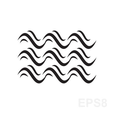 Vague icône vecteur. symbole de liquide d'eau isolé. Mer, rivière ou signe d'écoulement océanique. Pliage lignes.