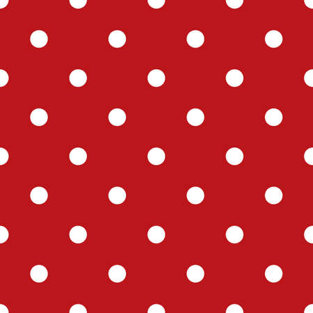 repetition dotted row: Pattern with white polka dots on pink background Illustration