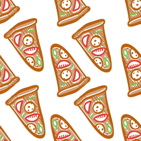 salami: Seamless pattern of italian pizza with salami, pepperoni, basil and tomatoes in pop art style Illustration