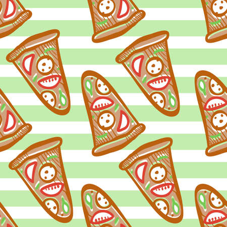 pepperoni: Seamless pattern of italian pizza with salami, pepperoni, basil and tomatoes on striped background in pop art style