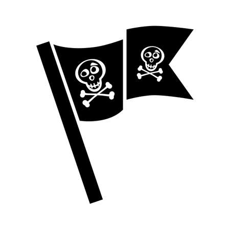 jolly: Pirate flag icon vector isolated. Jolly Roger sign