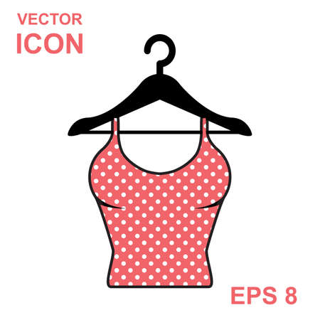 nightie: Sundress vector icon. Evening dress. Pink dotted combination or nightie silhouette. Illustration