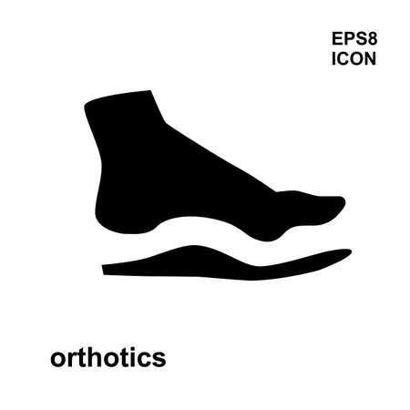 Steunzool pictogram op een witte achtergrond. Medische voet correctie