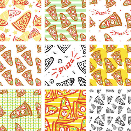 salami: Seamless pattern of italian pizza with salami, pepperoni, basil and tomatoes on striped background in pop art style