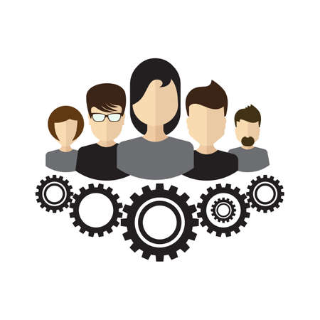 ceo: Team management organizational structure. Company CEO and his team hierarchy in flat design style. Concept for web banners, sites, printed materials, infographics. Illustration