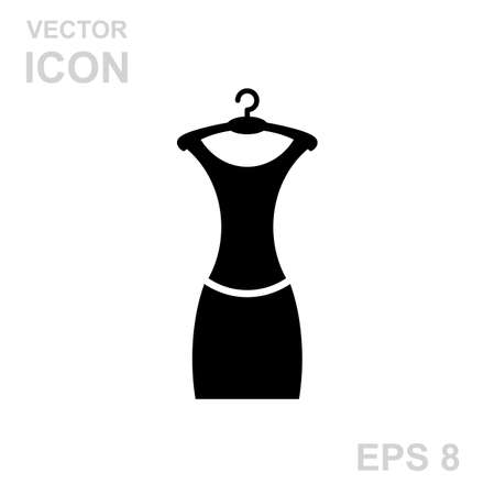 little black dress: Little black dress on a hanger. Vector Icon Isolated on White Background. Illustration