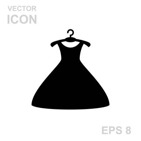 black dress: Little black dress on a hanger. Vector Icon Isolated on White Background. Illustration