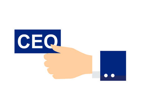 ceo: Businessmans hand with a business card that says CEO. Ceo icon or symbol